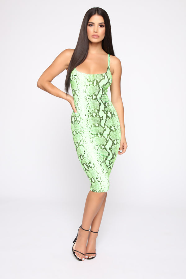 057ccac4a08 Got You Rattle Up Snake Print Midi Dress - Neon Green