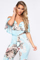 Brunch Party Floral Jumpsuit - Light Blue/combo