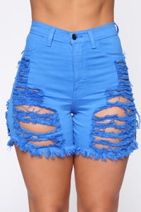 Yes Now Distressed Bermuda Shorts - Blue Angle 2