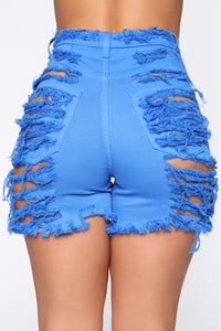 Yes Now Distressed Bermuda Shorts - Blue Angle 6