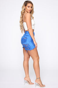Yes Now Distressed Bermuda Shorts - Blue Angle 5