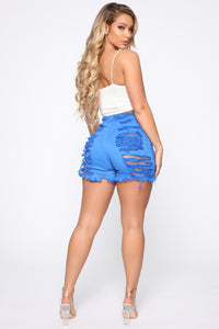 Yes Now Distressed Bermuda Shorts - Blue Angle 1