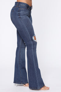 Juliette Low Rise Distressed Flare Jean - Medium Blue Wash