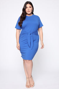 Tie Him Down Midi Dress - Royal Blue Angle 2