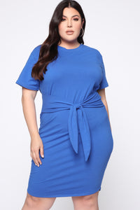 Tie Him Down Midi Dress - Royal Blue Angle 1