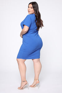 Tie Him Down Midi Dress - Royal Blue Angle 3