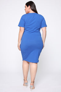 Tie Him Down Midi Dress - Royal Blue Angle 4