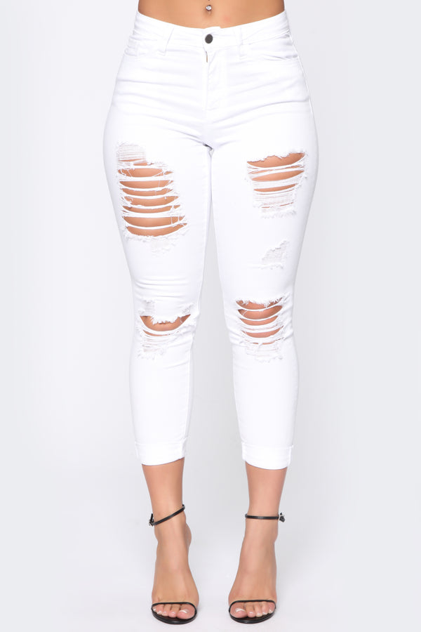 25cf7506614 Trust Issues Distressed Ankle Jeans - White