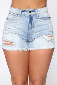 Fray It Don't Spray It Shorts - Light Blue Wash