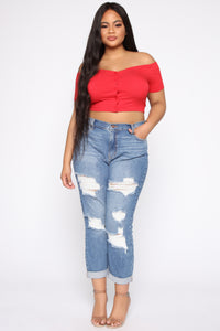 Give My Love Button Top - Red