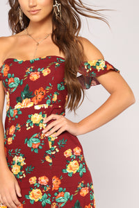 Plan A Trip Floral Dress - Burgundy