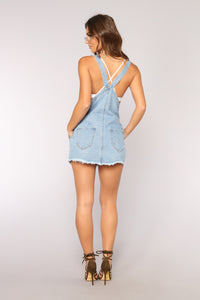Townie Overall Dress - Light Wash