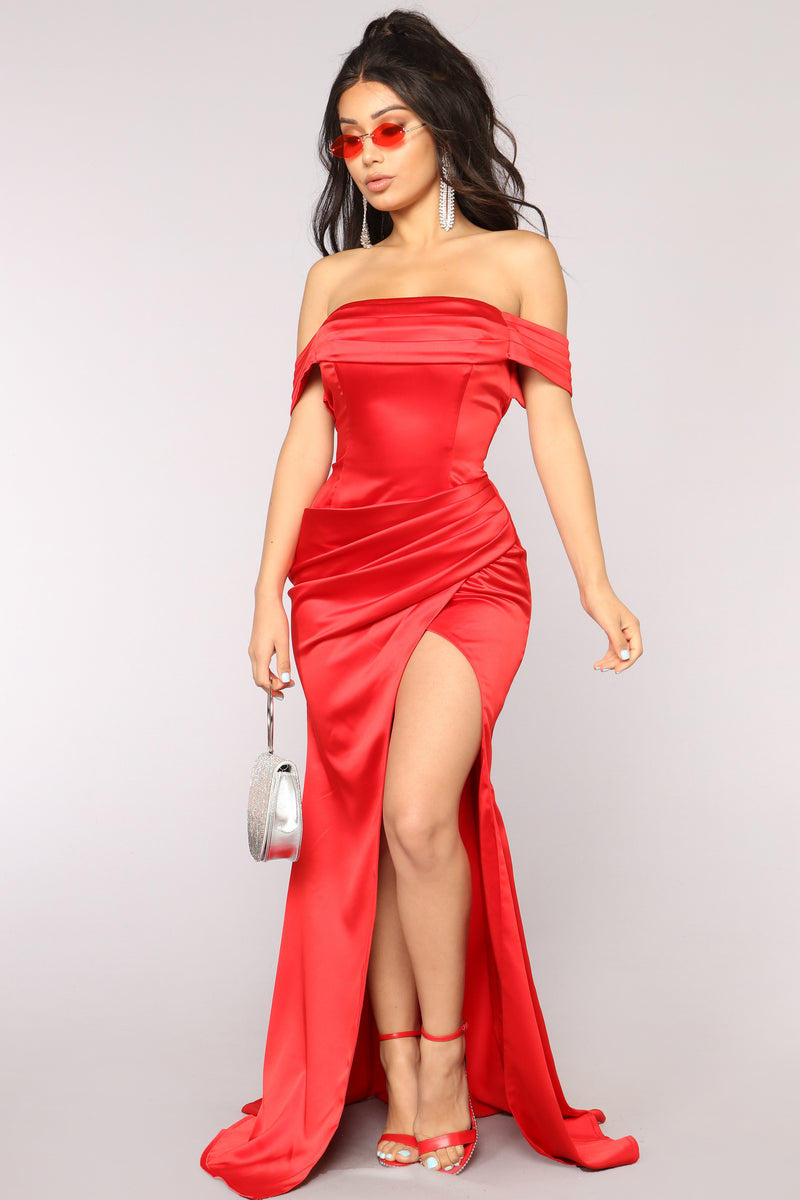 Tiara Satin Dress - Red