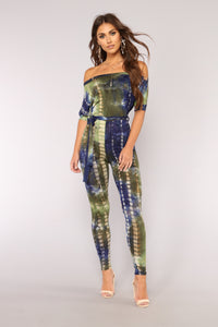 Cut You Off Shoulder Jumpsuit - Navy/Sage