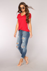Ingrid High Rise Distressed Jeans - Dark Denim