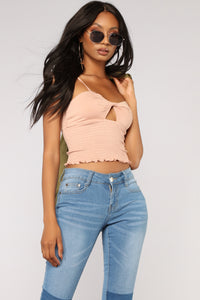 Twisted Love Smocked Top - Nude Angle 1