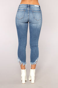 Mary Ann Mid Rise Distressed Jeans - Medium Blue Wash