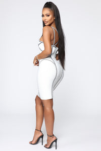 All The Right Angles Bandage Mini Dress - Off White/Black Angle 4