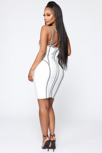 All The Right Angles Bandage Mini Dress - Off White/Black Angle 5