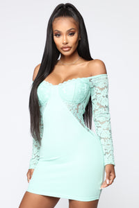 That Perfect Piece Off Shoulder Mini Dress - Mint Angle 1