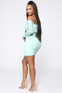 That Perfect Piece Off Shoulder Mini Dress - Mint Angle 3