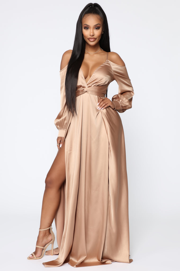 Mansion Dinner Party Satin Gown Gold Brown Dresses Fashion Nova
