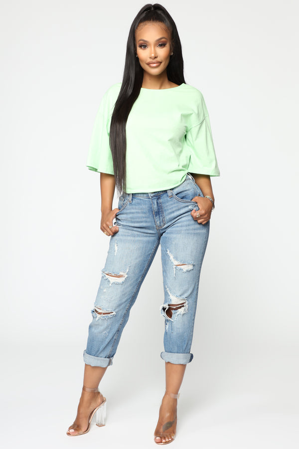 79c7887e349 Tied Up Twisted Back Top - Lime Green