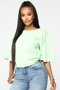 Tied Up Twisted Back Top - Lime Green