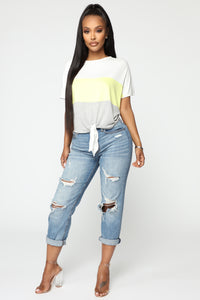 Blocked Tie Front Top - Yellow/Combo