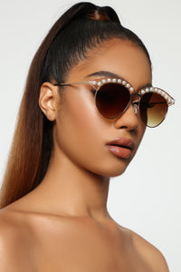 Tempted Sunglasses - Gold/Crystal Angle 1