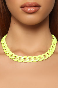 Cubana Chain Necklace - Neon Yellow
