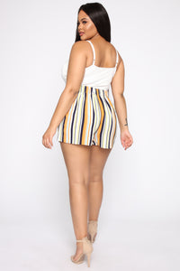 Kiara High Rise Print Shorts - Ivory/Multi Angle 11