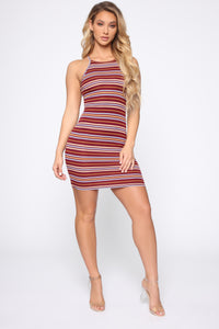 Rylie High Neck Dress - Burgundy Angle 2