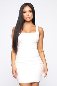 Darrah Denim Mini Dress - Ivory Angle 1