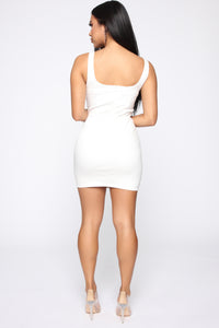 Darrah Denim Mini Dress - Ivory Angle 4