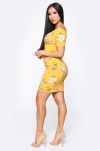Take The Floral Dress - Mustard Floral