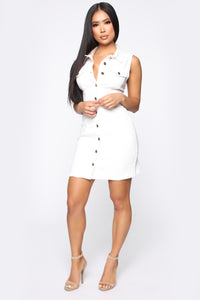 Daytime Stroll Denim Mini Dress - White