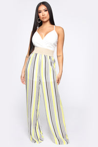 Sharon Striped Jumpsuit - White/Yellow Angle 1