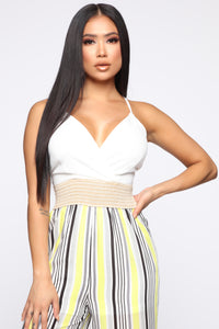 Sharon Striped Jumpsuit - White/Yellow Angle 2