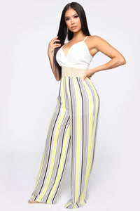 Sharon Striped Jumpsuit - White/Yellow Angle 3