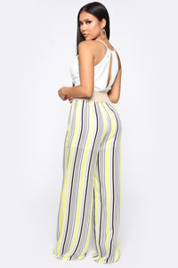 Sharon Striped Jumpsuit - White/Yellow Angle 4