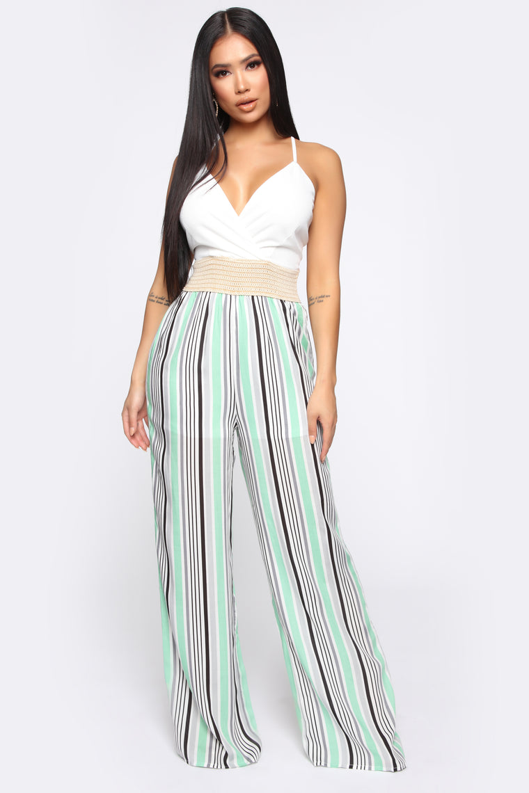 Sharon Striped Jumpsuit   White/Green by Fashion Nova