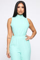 Open Your Heart High Neck Jumpsuit - Mint