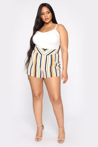 Kiara High Rise Print Shorts - Ivory/Multi Angle 7