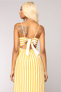 Can't Stop Desire Stripe Dress - Yellow