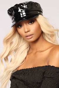 Zoey Patent Leather Cabby Hat - Black