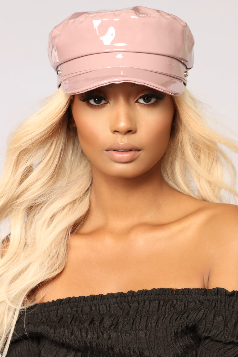 Zoey Patent Leather Cabby Hat - Mauve