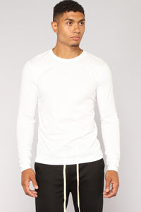 Essential Long Sleeve Crew Tee - White Angle 1