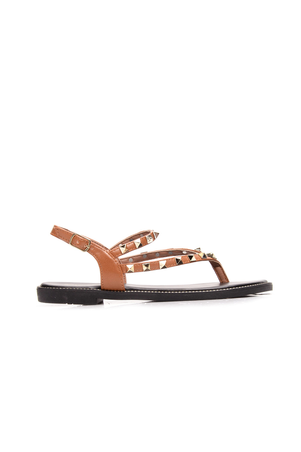 Walking With A Stud Sandal - Camel