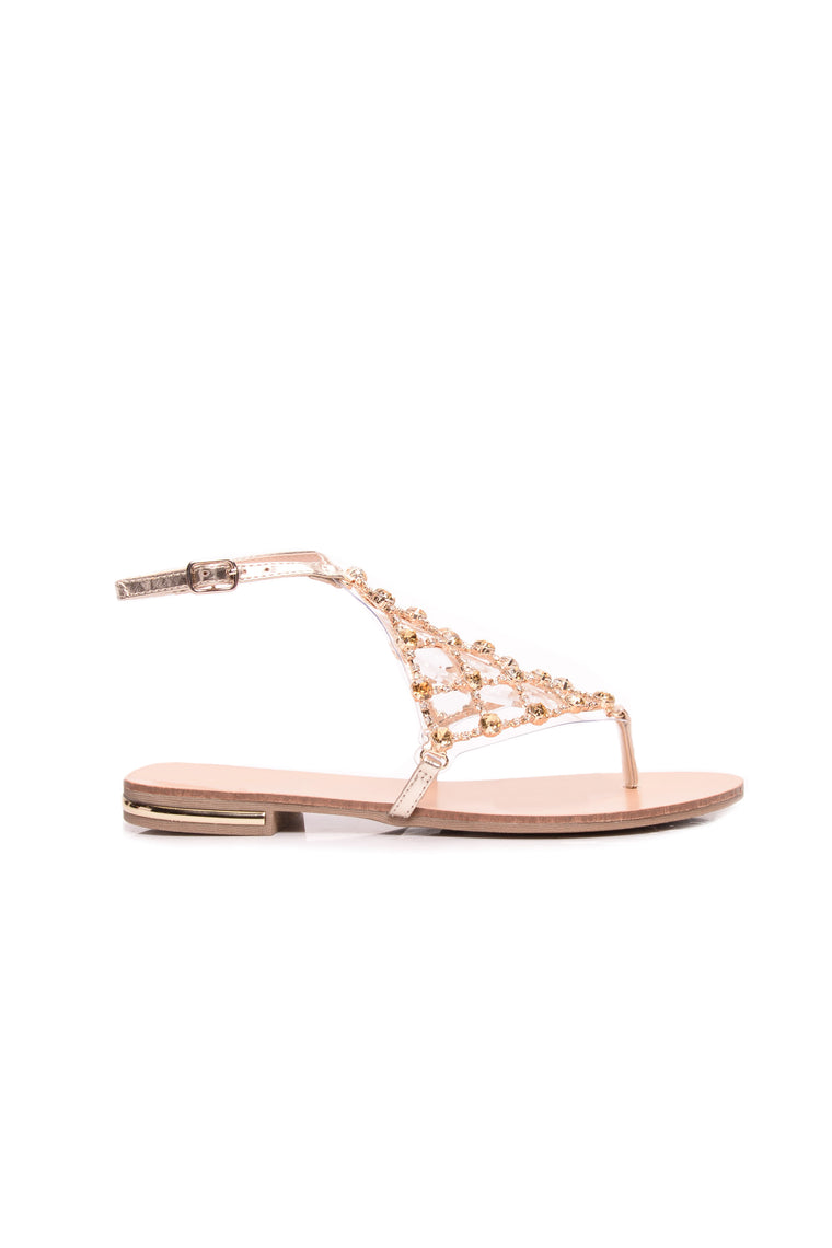 Walk The Rhinestone Sandal - Gold